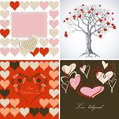 Love greeting card vector set