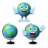 Cartoon Globes Set Vector Illustration. Geography, World, Planet. Education Concept. Vector Illustra poster