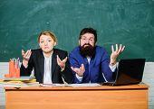 Interviewing Enrollee. Teacher Principal Decide Who Will Enter Private School. Private Elite School. poster