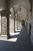 Arches of the Cloister of La Compania Church in Arequipa, Peru