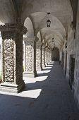 Arches of the Cloister of La Compania Church in Arequipa, Peru
