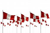 Wonderful Holiday Flag 3d Illustration  - Peru Isolated Flags Placed In Row With Bokeh And Place For poster