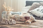 Still Life Details Of Home Interior On A Wooden Table poster
