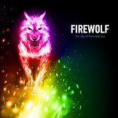 Aggressive Fire Woolf In Sparks. Concept Image Of A Rainbow Color Wolf And Flame On A Black Backgrou poster
