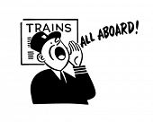 Train Conductor - Retro Clipart Illustration