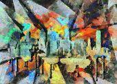 Modern art. Impressionism. New York, Manhattan. 3D rendering poster