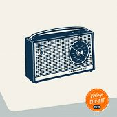 Vintage Clip Art - Radio - Vector EPS10.