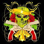 Abbildung beängstigend Totenkopf mit Rose und Geschütz auf abstrakten Hintergrund
