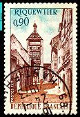 Vintage  Postage Stamp. Street Riquewihr.