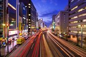 View above Aioi-Dori Avenue, the central commercial district in downtown Hiroshima, Japan.
