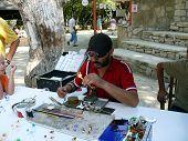 Side, Turkey - September 04, 2008: Man Make A Little Glass Toys For Tourists On September 04, 2008 I