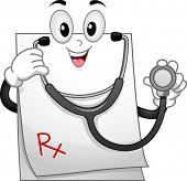 foto of prescription pad  - Mascot Illustration of a Prescription Pad Wearing a Stethoscope - JPG