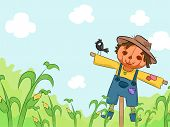 Illustration of a Smiling Scarecrow in a Corn Farm