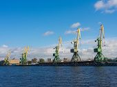 picture of sankt-peterburg  - cranes in the port of Sankt - JPG
