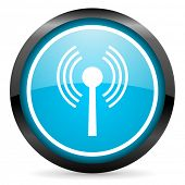 wifi blue glossy circle icon on white background