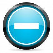minus blue glossy circle icon on white background