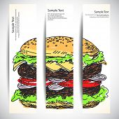 Set of banners with cheeseburger