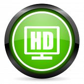hd display green glossy icon on white background