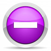 minus violet glossy icon on white background