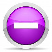 minus violet glossy icon on white background