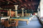 Billiard room with many tables