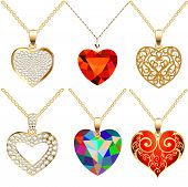 Set Of Pendants Pendant With Precious Stones In The Form Of Heart