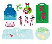 Christmas Design Elements With Santa Claus - Set