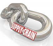 The words Supply Chain on connected links to symbolize management of manufacturer and supplier compa