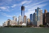 stock photo of freedom tower  - The New York City skyline at afternoon w the Tower 4 and Freedom tower under construction - JPG