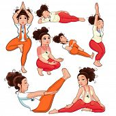 Yoga Positions. Funny cartoon and vector isolated illustration.