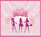 Fashion Girls Shopping Background