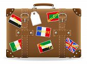 Old Suitcase For Travel And Label Vector Illustration