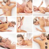 Spa collage: different types of massage isolated on white background