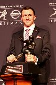 NEW YORK-DEC 8: Texas A&M quarterback Johnny Manziel attends the 2012 Heisman finalists press conference at the Marriott Marquis on December 8, 2012 in New York City.