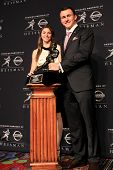 NEW YORK-DEC 8: W.B. Ray high schooler Zoe Alaniz and Texas A&M quarterback Johnny Manziel are the w