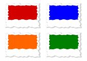 Four colored jagged labels
