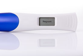 stock photo of pregnancy test  - Pregnancy test isolated on a white background - JPG