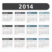picture of calendar 2014  - 2014 Calendar on white background - JPG