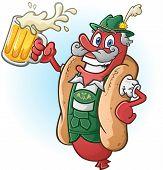 Bratwurst Hotdog Beer Cartoon