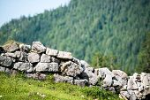 Stone wall in the alps