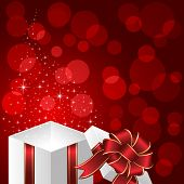 Gift box on red background with stars