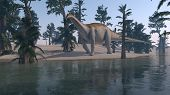 foto of apatosaurus  - walking apatosaurus - JPG