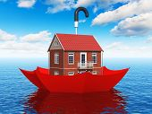 stock photo of floating  - Creative real estate security - JPG
