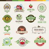 foto of tractor  - Set of badges and stickers for food - JPG