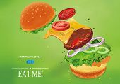 Hamburger with cheese, lettuce, onion and meat. Flying ingredients of burger. Fastfood Vector illustration