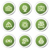 Travel web icons set 5, green stickers