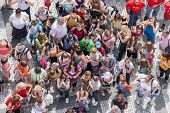 Pragua, Czech Republic - Jul 21: Top View Of Unknow Tourists Waiting At The Old Town Square In The C