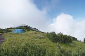 Camp On The Mountain In Carpathians