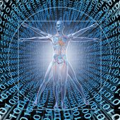 image of skeleton  - Medical Records Technology with a vitruvian man over a background of digital binary code as a health care symbol of electronic data storage at a central server network available in the cloud for a hospital or clinic patient convenience - JPG