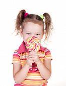 Cute Little Girl Holding Big Lolly Pop